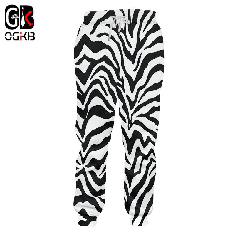 OGKB Casual Pants Boy New Long Loose Leopard 3D Trousers Printed Zebra Stripes Hiphop Large Size Costuming Unisex Winter Trouser