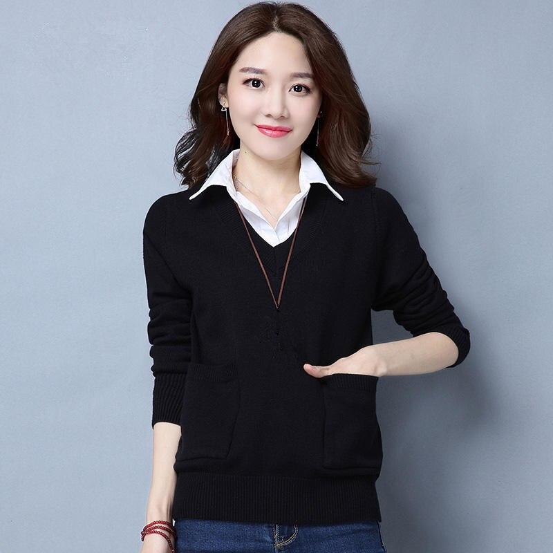 Automne hiver chandail tricoté pull décontracté à manches longues chemise mince tricoté pull de grande taille 3XL dames hauts pull Q653