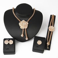 Full Clear Rhinestones Statement Necklace and Earrings for Women Indian Bridal Wedding Jewelry sets African Beads CrystalJewelr