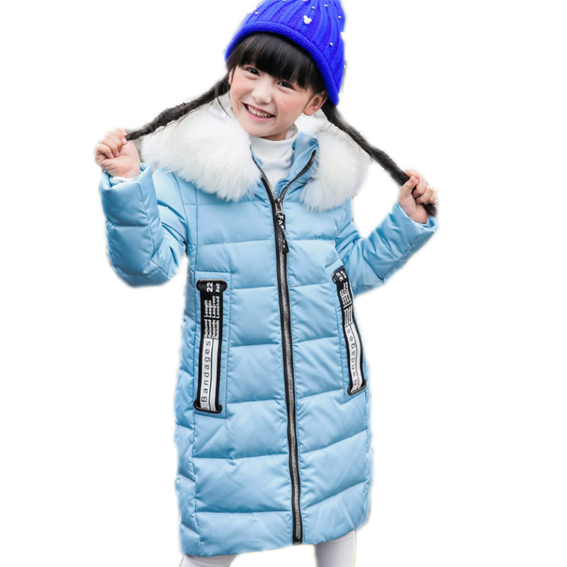 Children Winter Jackets For Girls 2017 New Long Thick Duck Fur Hooded Warm Down Coat Jacket Children's Outerwear -30 Degree Kids down coat winter jacket men hooded parka with fur collar duck down jackets thick warm long outerwear male brand clothing