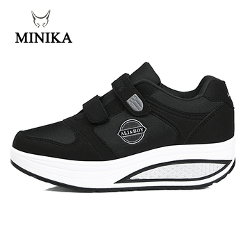 New Women Black Purple Toning Shoes Slimming Breathable Platform Swing Wedge Shoes Health Feminino Zapatillas Deportivas Mujer 4 5 cm height toning shoes for women fitness walking slimming workout sneakers wedge platform air swing shoes for female