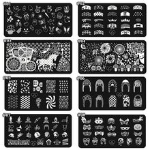 1Pc Nail Art Stamping Image Plates Lip/Bow knot/French Tips Design Stamp Manicure Designs DIY Templates T24