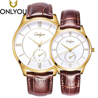 ONLYOU Lovers Watches Men Luxury Business Gold Watch Women Fashion Dress Wristwatch Ladies Casual Waterproof Quartz