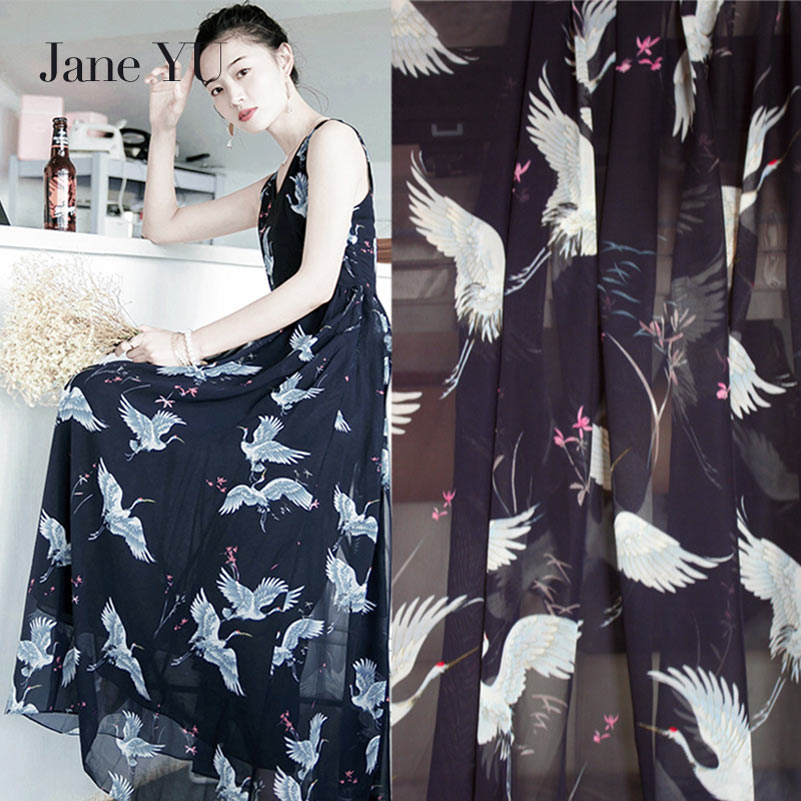 JaneYU Classic Chinese Wind Cranes Chiffon, Printed Fabric, Dress Sunscreen Shirt Spring And Summer Cloth.