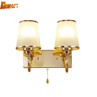 HGhomeart Indoor Lighting Modern Glass Sconces Wall Lamp Lamps for Bedroom E27 Led Bedside Reading Lamp Luminaria Wall Led Light