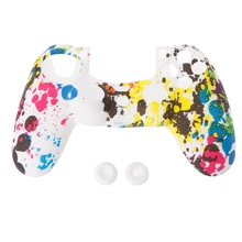 Game Case  Anti-Slip Multicolor Silicone Cover + 2 Joystick Caps For PS4 Controller цены