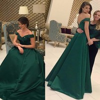 Hot Selling Satin Beaded 2016 Evening Gowns Elegant V Neck Backless Vestido De Festa Long Emerald