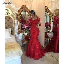 Red 2019 Prom Dresses Mermaid V-neck Long Sleeves Pearls Lace Sexy Party Maxys Long Prom Gown Evening Dresses Robe De Soiree new red champagne flower girl dresses long sleeves lace satin mother daughter dresses for children christmas party prom gown