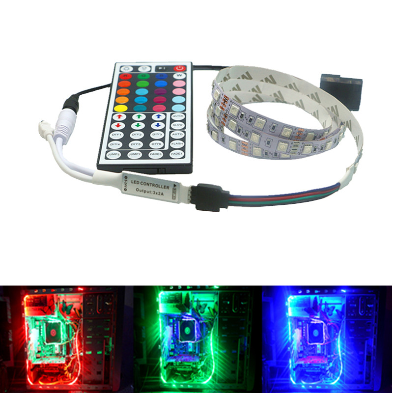 RGB LED Strip Light Full Kit For PC Computer Case SATA Power Supply Interface Fixed By Tape Sticker,Remote Control Color 12V
