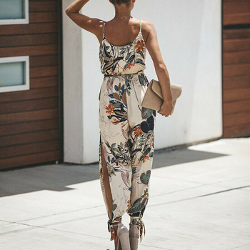 2019 Summer Women Holiday Casual Sleeveless Jumpsuits Fashion Ladies Boho Floral Bodysuit Wide Leg Loose Long Pants Trousers 1