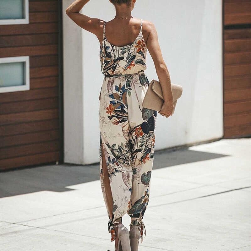 ผู้หญิงฤดูร้อนวันหยุดสบายๆแขนกุด Jumpsuits แฟชั่นผู้หญิง Boho Floral Bodysuit หลวมยาวกางเกงกางเกง Overalls สำหรับผู้หญิง