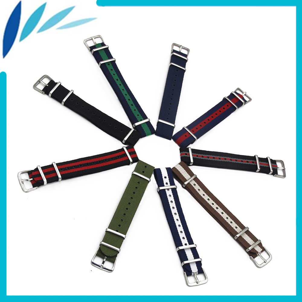 Nylon Watch Band 18mm 20mm for Timex Weekender Expedition Stainless Steel Pin Buckle Strap Wrist Loop Belt Bracelet Black Red