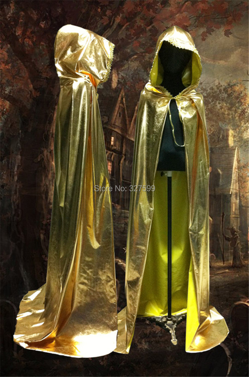wholesale exclusive design  golden silver lace  hooded velvet cloak gothic wicca robe