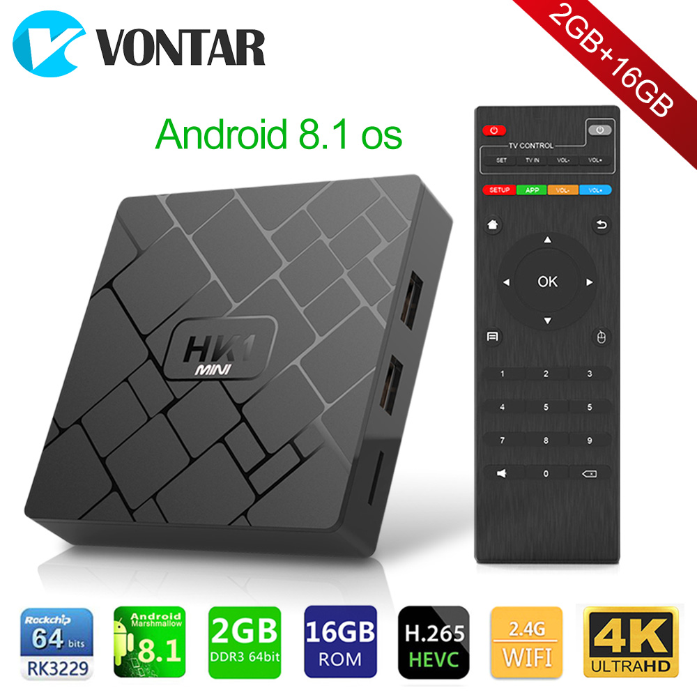 Android 8.1 Smart TV BOX HK1 mini 2 GB 16 GB Rockchip RK3229 Quad core WIFI H.265 HEVC 4 K 3D set-Top-Box Media Player