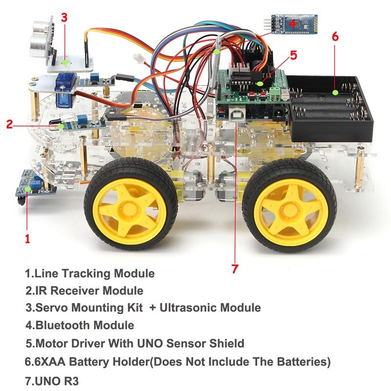 FAI DA TE Mini Intelligente Robot Auto 4WD Apprendimento Starter Kit per Arduino Robot Istruzione Programmabile Robot + manuale + PDF (on-line) + 5 progetti