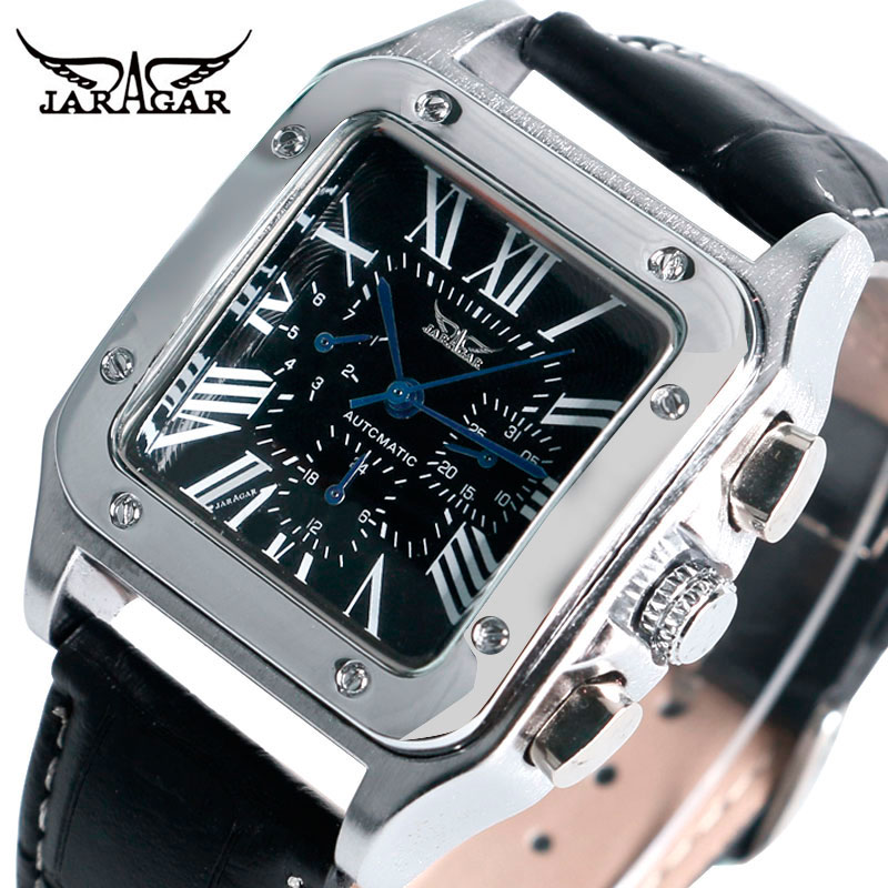 JARAGAR Mechanical Watches Men Fashion Genuine Leather Wrist Watch Automatic Date Day Display Watches Mens Clock with Gift Box цена и фото