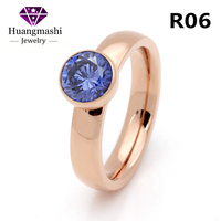 Twisted New 2017 Fashion Brand Jewelry Blue Zircon Interchangeable Ring Rose Gold Stainless Steel Rings R06