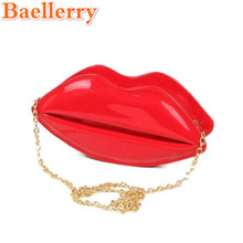 Baellerry New Fashion Women Leather Red Lips Handbag Lady Messenger Shoulder Bag Sexy Lady Day Clutches Women Evening Totes Bag