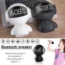 DSstyles Bluetooth Speaker Clock Robot Multi-functional Power Bank Mini Microphone Card Insert Speaker m17 new outdoor portable bluetooth speaker 15w subwoofer multi functional card insert microphone speaker wireless stereo