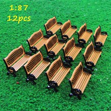 12pcs Model Train Platform Park Street Seats Bench Chair Settee 1 87 HO Scale ZY35087 courtyard chairs railway modeling cheap 14 years old Unisex Plastic Buildings Can not eat evemodel