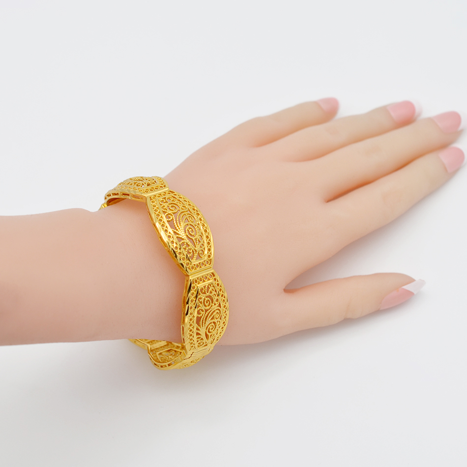 Image 3 - Anniyo 4Pieces/Openable Dubai Bangles Ethiopian Bracelets&Bangles for Women African Wedding Jewelry Arabic Middle East #208406-in Bangles from Jewelry & Accessories