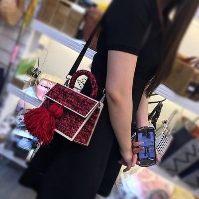 Luxe Marque Laine Sac De Main rouge Bolsa Nouveau Gland À Femmes rose orange Feminina 2019 Noir chocolat Designer Bandoulière Sacs Pour Messenger Bnx5OqzwF5