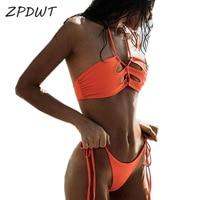 ZPDWT Naranja Traje de Baño Brasileño Biquini Bikini Set Mujeres Swim Traje de Baño Halter Vendaje Bikini Recortable Traje de Baño Maillot