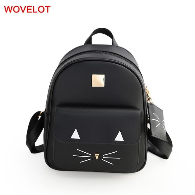 a6a12393c7bc Модный милый кот рюкзак PU кожаная сумка на плечо школьные сумки дешевые  женские сумки повседневные Рюкзаки