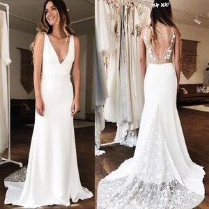 Image 1 - Sexy głębokie dekolt w serek suknie ślubne syrenka biała kość słoniowa 3D koronkowa szata De Maria Backless kaplica pociąg Vestido De Noiva Custom Made