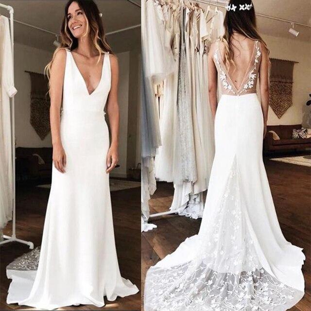 Sexy głębokie dekolt w serek suknie ślubne syrenka biała kość słoniowa 3D koronkowa szata De Maria Backless kaplica pociąg Vestido De Noiva Custom Made