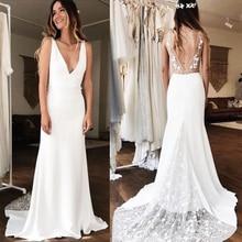 Vestidos De novia De sirena con cuello en V profundo sexi Vestido De novia blanco marfil 3D De encaje Vestido De novia hecho a medida