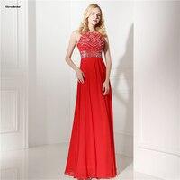 אבנים פאייטים מעוטרים CloverBridal רויאל שמלות נשף זול חרוזים אדום צבע תכשיט מחשוף לונגו vestidos דה menina