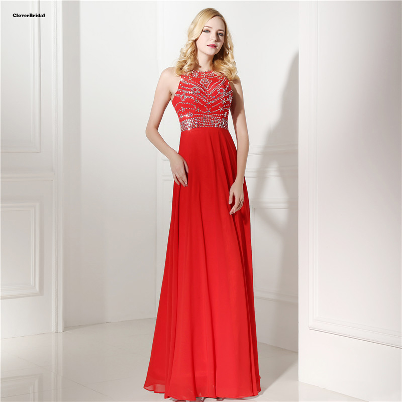 CloverBridal stones and sequins adorned royal beaded cheap prom dresses red color jewel neckline vestidos de menina Longo