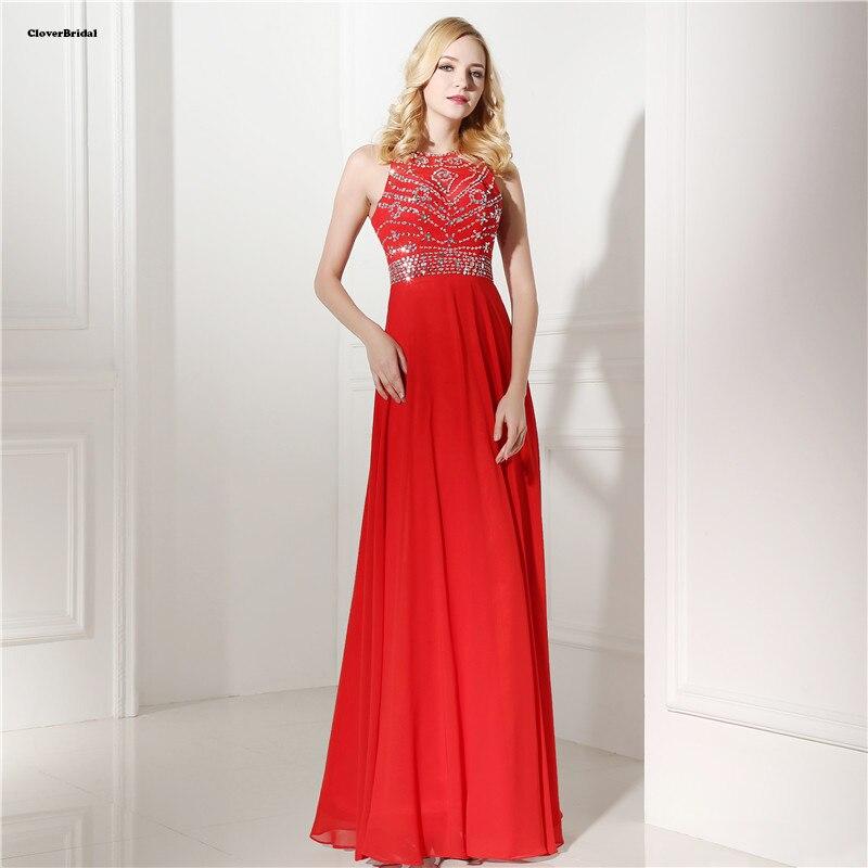 Pierres de mariée et paillettes ornées de perles royales robes de bal bon marché couleur rouge bijoux décolleté robes de menina Longo