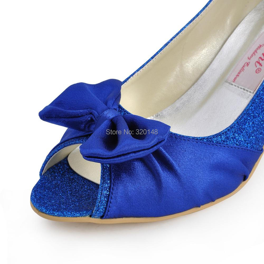 Woman Shoes Peep Toe Med Heel Wedding Bridal Bow Glitter Blue Satin Bride  Bridesmaids Lady Dress Prom Formal Pumps EL10016-in Women s Pumps from Shoes  on ... 7ab87dfc9a24