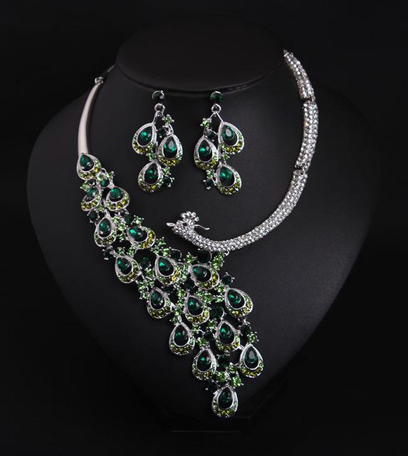 Pavo real Collar de la Declaración, Joyería de La boda, Vintage Inspirado Collar Nupcial, Crystal Chunky
