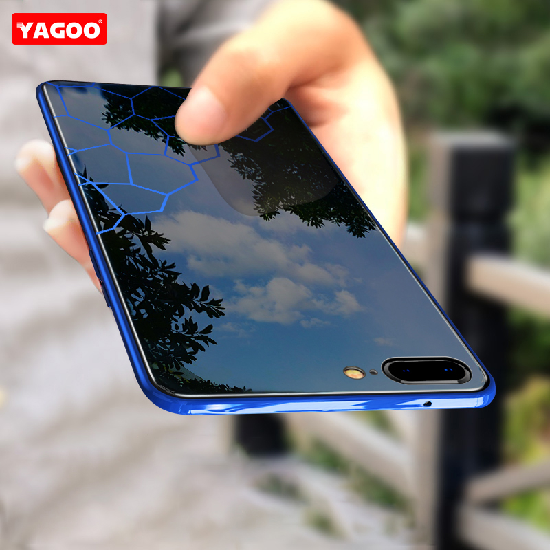 For iphone 7 case for iphone 7 plus case luxury glass hard back cover 360 armor shockproof 4.7 5.5 inch coque fundas blue YAGOO