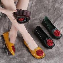 Женская обувь из натуральной кожи на низком каблуке, без шнуровки, обувь для вождения, женские мокасины с цветочным принтом, лоферы, эспадрильи, 9991
