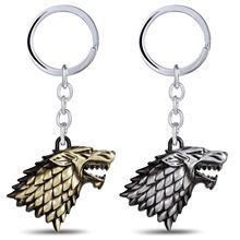 Game Of Thrones House Stark Keychain Direwolf Badge Keyring Silver&Gold Color Alloy Jewelry Christmas Halloween Present