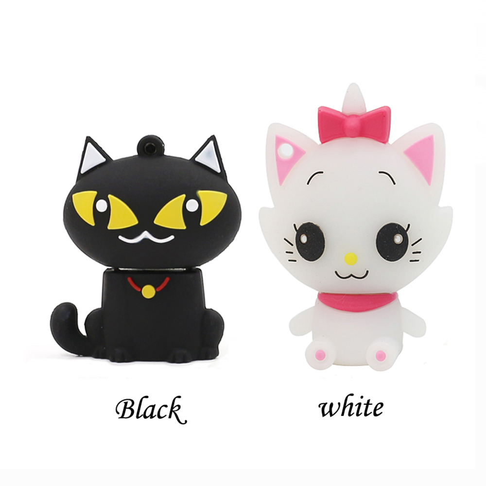 Black/white Cute Cat Usb Flash Drive Storage Device 64gb 32GB 16GB 8GB 4GB Pen Drive USB Key 16gb USB Stick Memory Stick U Disk