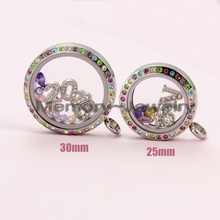 25mm 30mm multi color crystal locket!stainless steel twist waterproof floating locket personalized jewelry(China (Mainland))