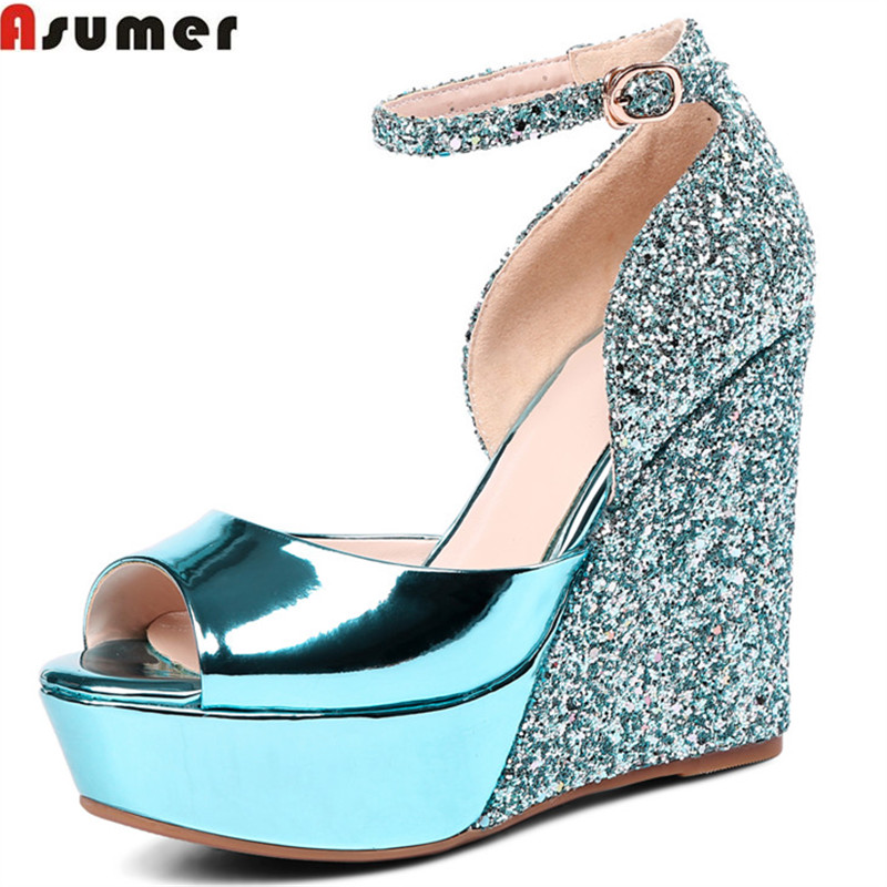ASUMER 2018 fashion summer new arrival women sandals peep toe buckle elegant wedding shoes woman bling high heels shoes