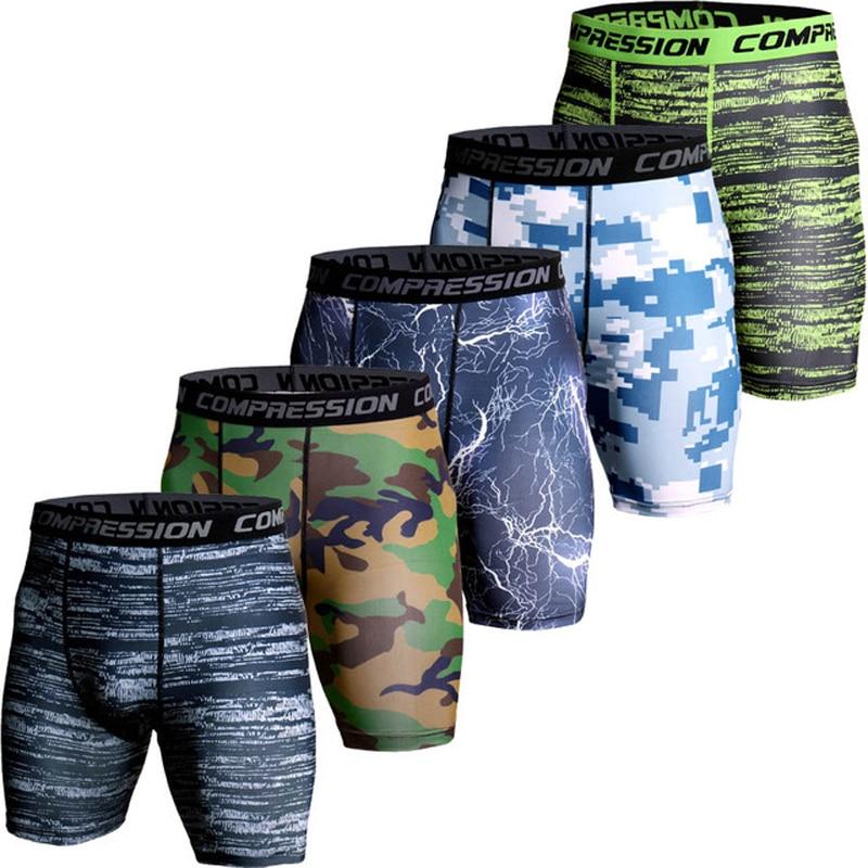 3D Camo Compression Shorts Men 2018 Short Pants MMA High Elastic Skinny Leggings Bodybuilding Tights Men Fitness Sweat Shorts