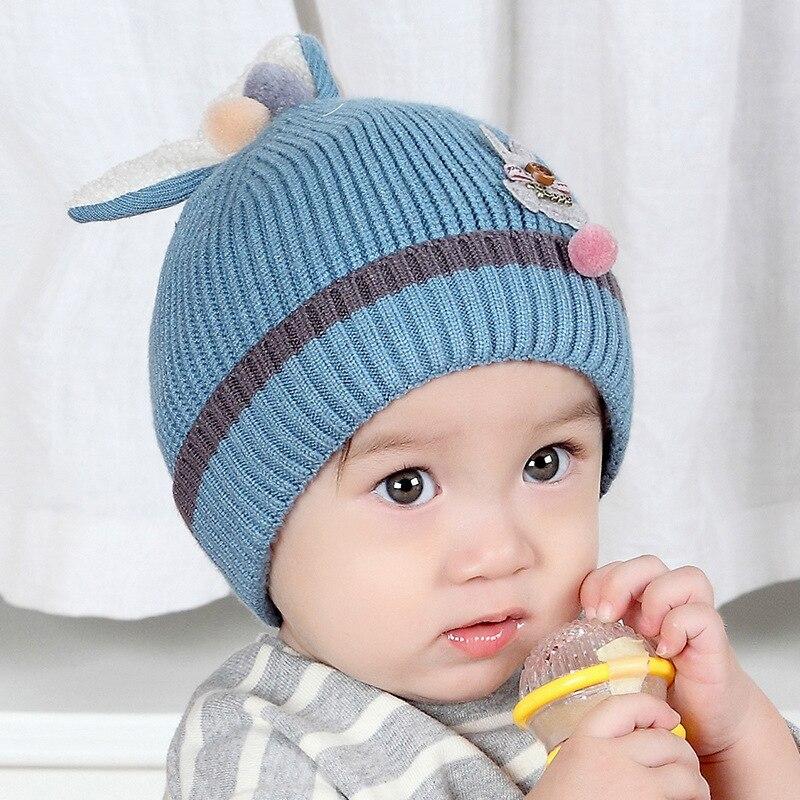 c7c8715682b6 Style Baby Hat Newborn Cute Winter Kids Baby Warm Hats Knitted Wool ...