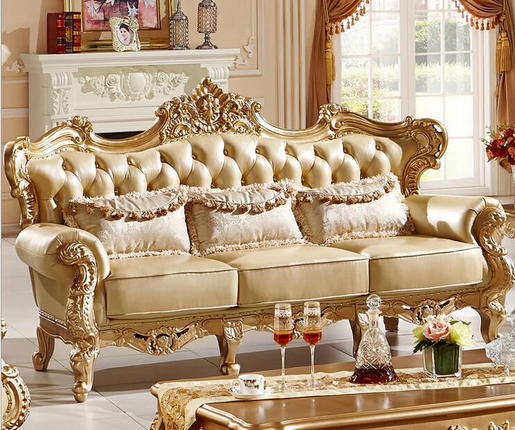 Classic Italian style luxury leather sofa set living room ...