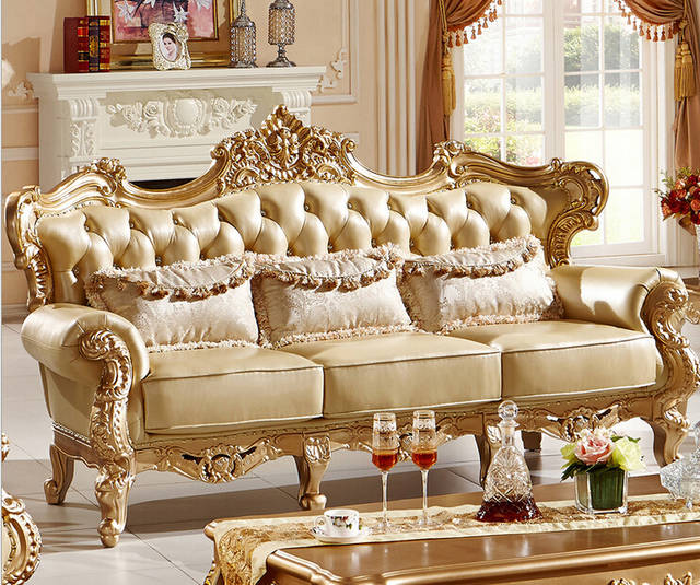 Classic Italian style luxury leather sofa set living room sofa furniture  0407