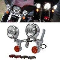 Motocicleta sinal de volta led spotlight auxiliar luz de nevoeiro habitação suporte para harley electra glide rua flhx estrada rei 97 13|  -
