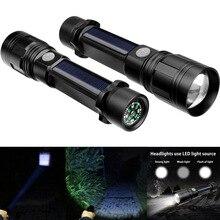 1 Pcs LED Flashlight Torch USB Solar Charging Aluminum Alloy Waterproof for Outdoor Fishing LB88
