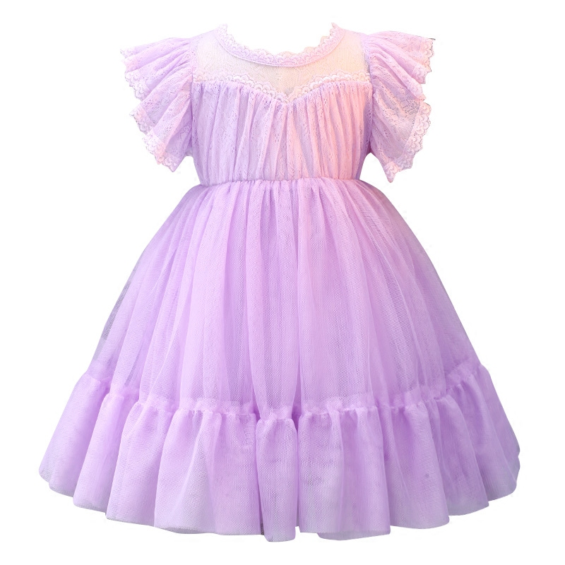 flower     girl     dress   purple Baptism   Dresses   for   Girls   1st year birthday party wedding baby clothing B09