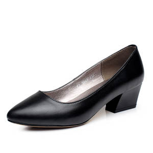 2018New Professional White-collar Women's Shoes, High-quality Leather Making Ladies' High Heels, Black High Heels